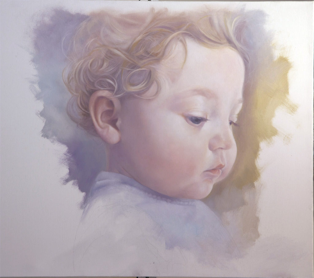 "John Rowe, ""Baby Study,"" oil on canvas, 18 x 24 in. (c) John Rowe 2017"