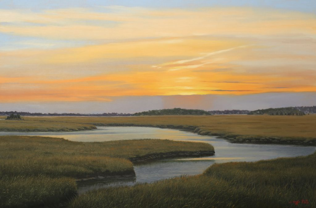 """Sunrise On The Marsh,"" 24 x 36 in., oil on canvas, (c) Sergio Roffo 2019"
