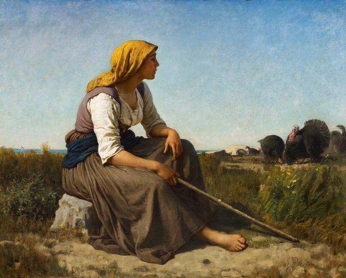 "Jules Breton (Courrières, 1827 – Paris, 1906), ""Gardeuse de Dindons (The Turkey Tender),"" 1864, oil on canvas, 82.6 x 101.6 cm (32.5 x 40 in.) Signed lower right 'Jules Breton' and dated '1864'"