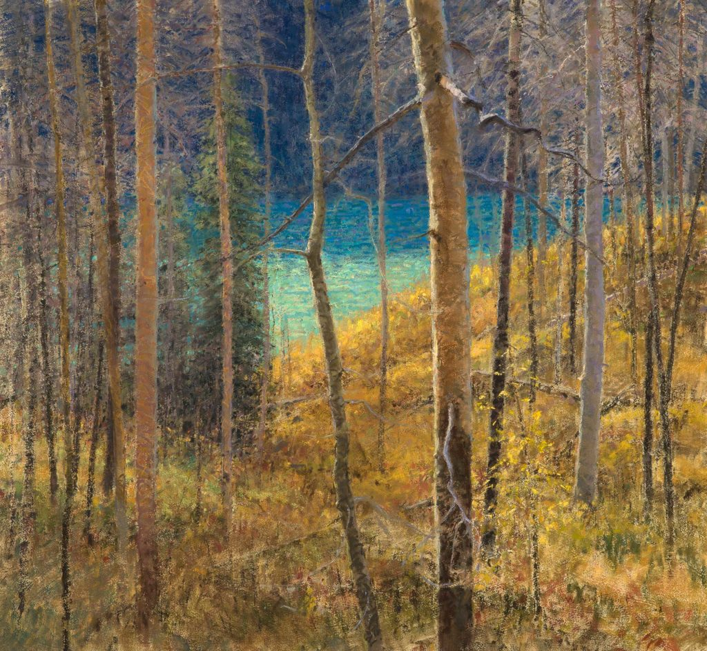 """Skip Whitcomb, """"Fall Afternoon, St. Mary Lake,"""" pastel, 32 x 35 in."""